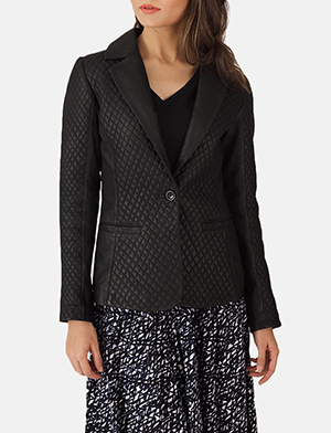Cora Quilted Black Leather Blazer - $399.00