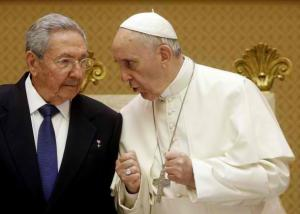 Pope Francis with Cuban Communist President Fidel Castro