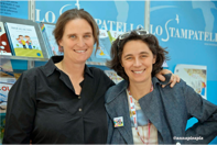 Controversial author Pardi (right) with her lesbian partner.