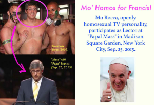 The selection of Mo Rocca, an openly gay TV personality in the U.S., as lector in the papal mass on September 25, caused a huge uproar.  Rocca is an American comedian, actor and journalist, well known for his role on The Daily Show with Jon Stewart, and now a commentator for CBS. He admitted his homosexuality during a podcast interview in 2011.  Rocca served as lector in the recent Mass of Pope Francis in New York.
