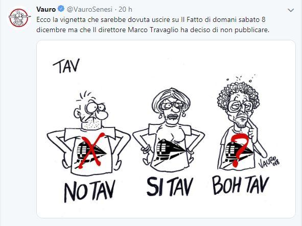 """Travaglio censura pure il Notav  Vauro per non disturbare Toninelli e il M5S, ma fa uscire l'ennesima raccolta di """"balle spaziali"""" sulla TAV"""
