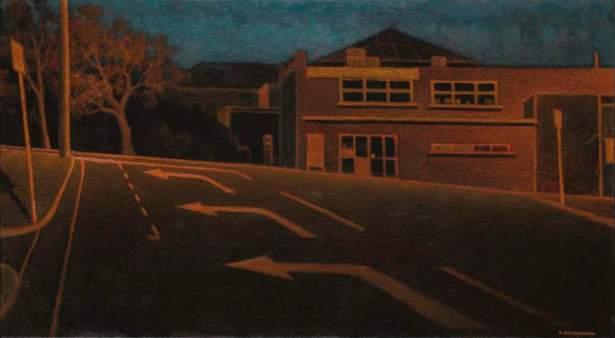 Robert Brownhall - Night arrows, 2014, oil on linen. 80 x 144 cm