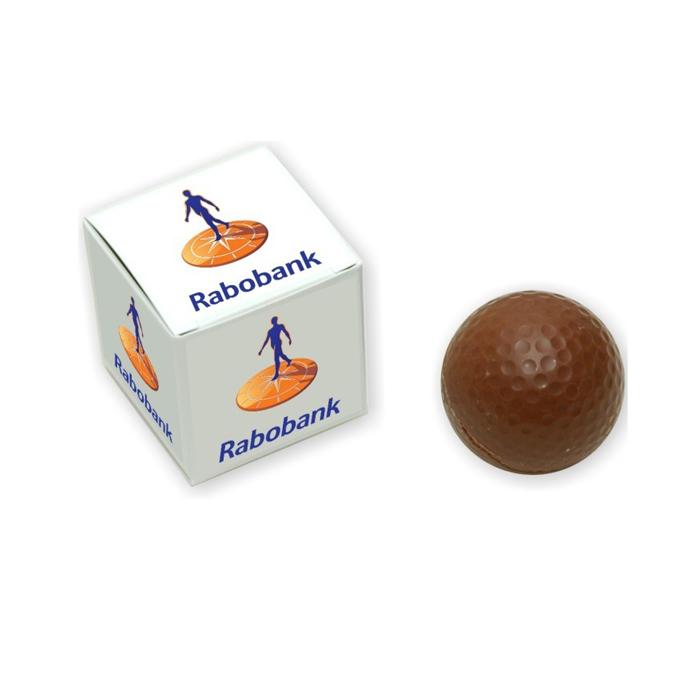 Chocolade golfbal in gepersonaliseerd doosje