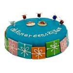 Blauwe Sint marsepein taart