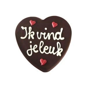 """Chocolade hart """"Ik vind je leuk"""""""