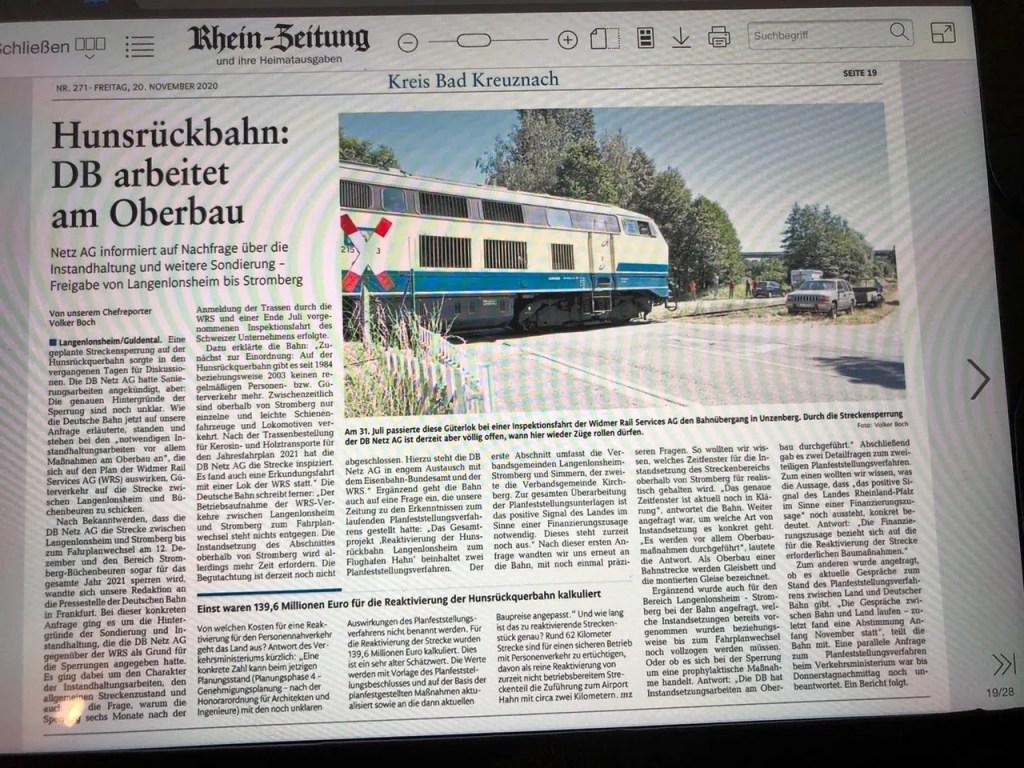 Geplanter Güterverkehr auf der Hunsrückquerbahn – Hin und Her macht sprachlos.