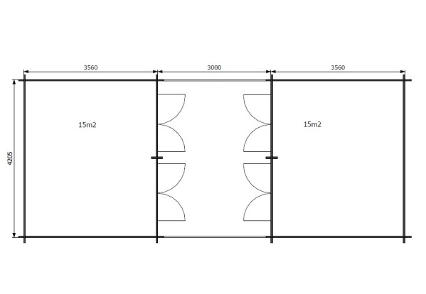 Perinneladot parilato 2x15m2 pohja