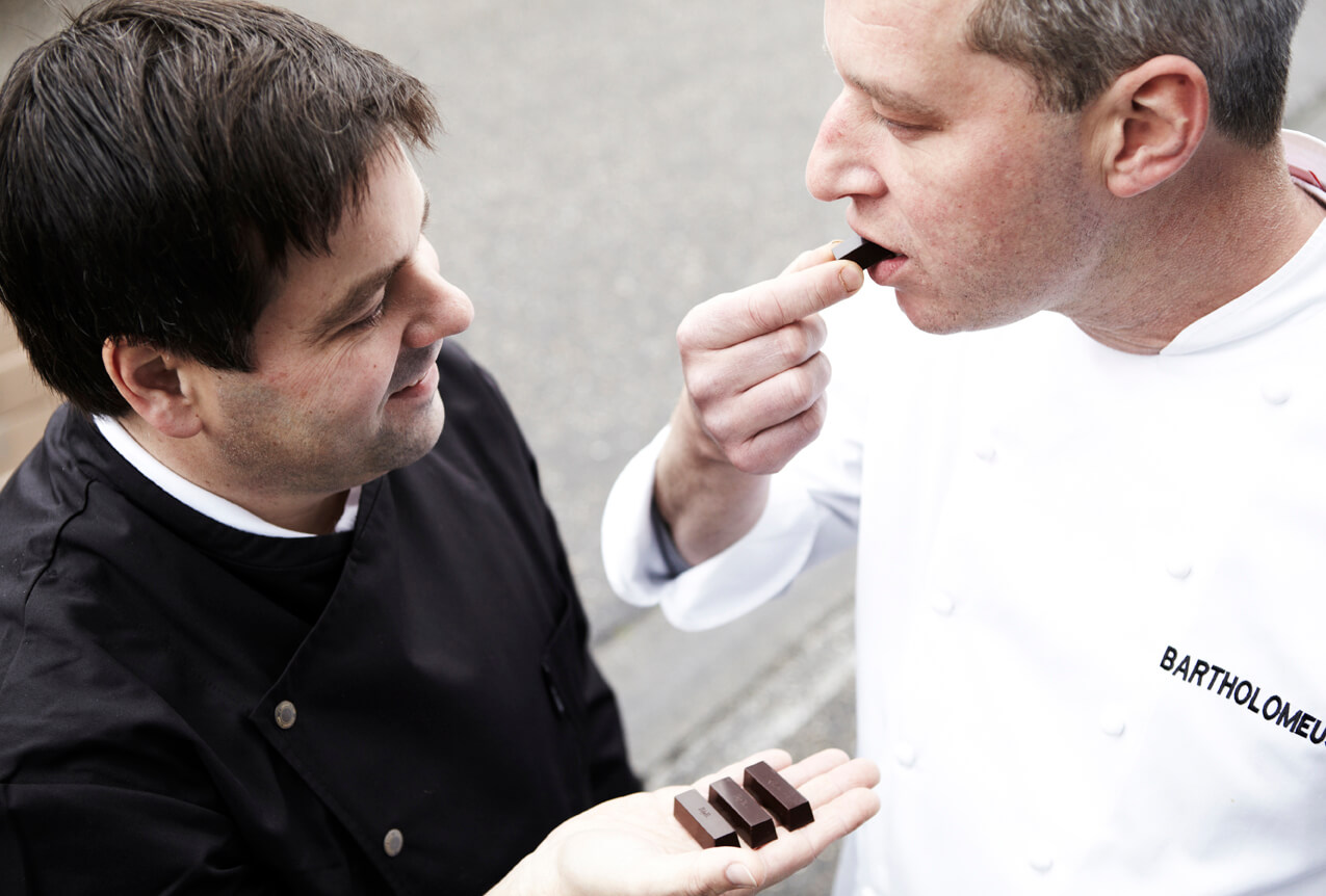 Jan Verleye and Bart Desmidt eating BbyB pralines