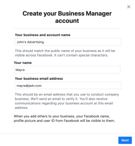 create business manager account