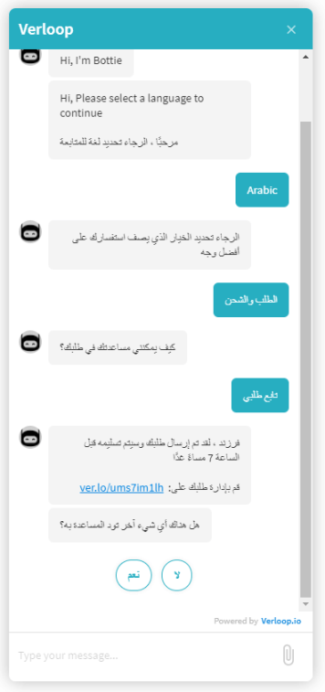 Using a multilingual chatbot in arabic