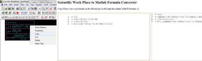 Scientific Workplace to Matlab Converter