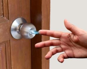 Steel handle on the door closeup