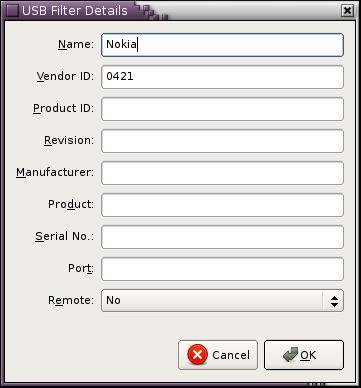 VirtualBox USB Filter Details