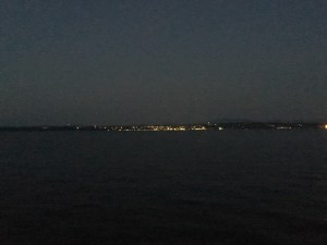 Burlington Vermont at night on Lake Champlain