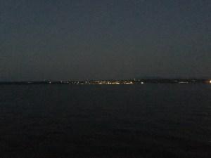 Burlington Vermont at night on Lake Champlain
