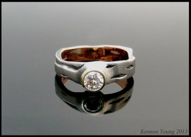 Diamond Birch Tree Engagement Ring with Black Enameling
