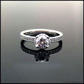 Lotus diamond engagement ring in white gold