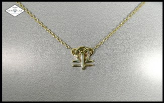 Aries and Libra 18K yellow gold astrological necklace