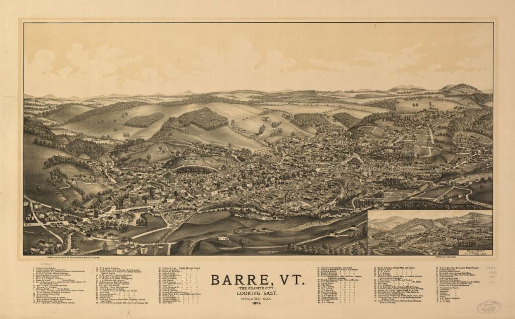 Bird's Eye view of Barre Vermont 1891