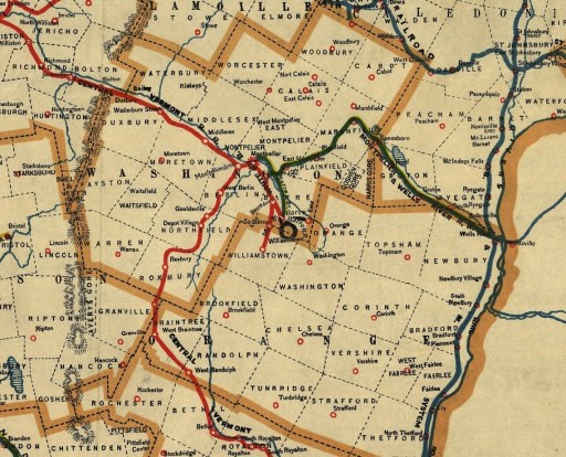 A cutout from Coffin's 1891 Map of Vermont Rail-Roads featuring the area of Barre, Vermont.