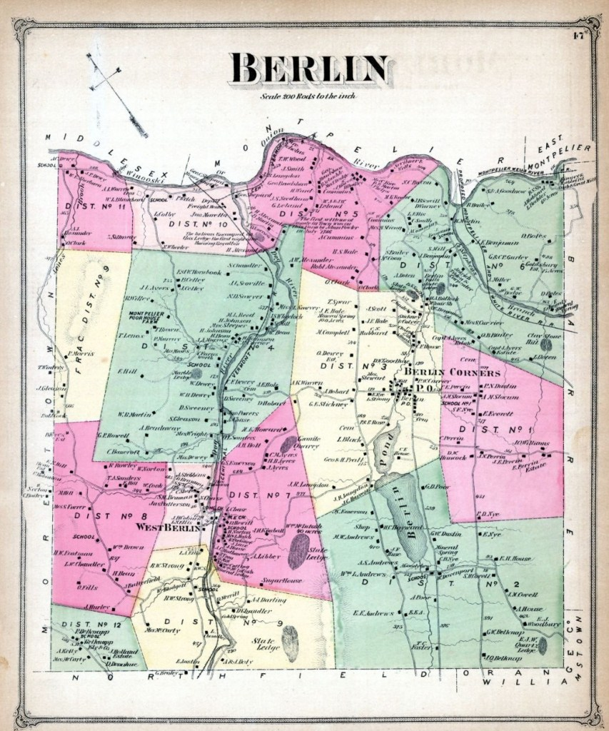 1873 Map of Berlin Vermont