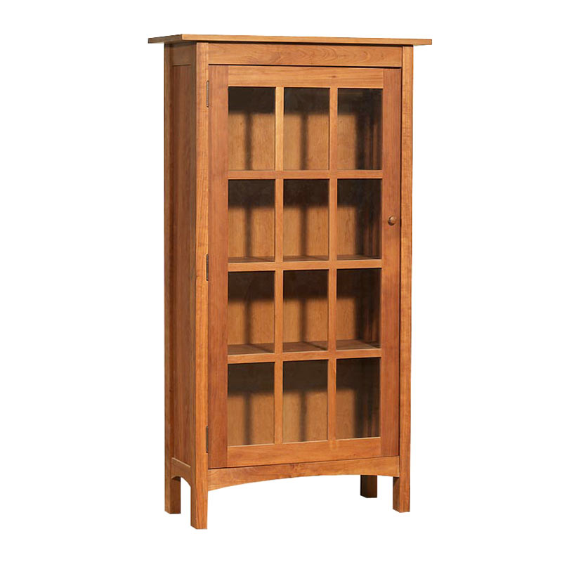 Vermont Made Wooden Shaker Bookcase With Glass Doors
