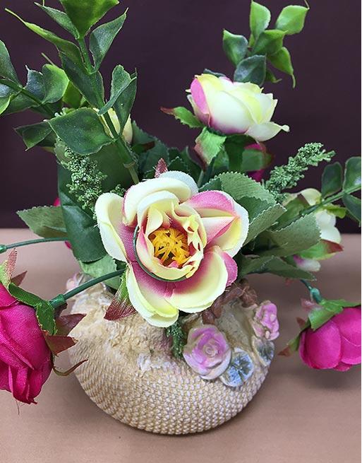 Cute Rose Flower Vase Artificial Flower Decor Vernisite