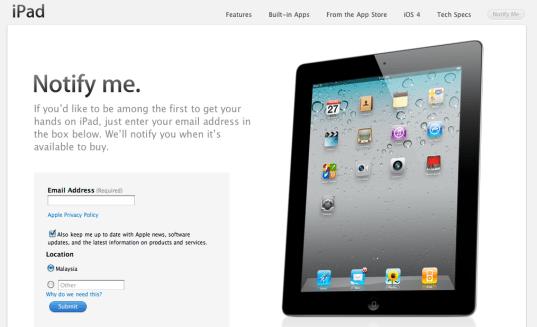 iPad 2 Register Your Interest