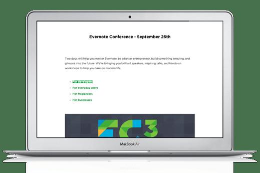 Evernote for Mac Presentation Mode