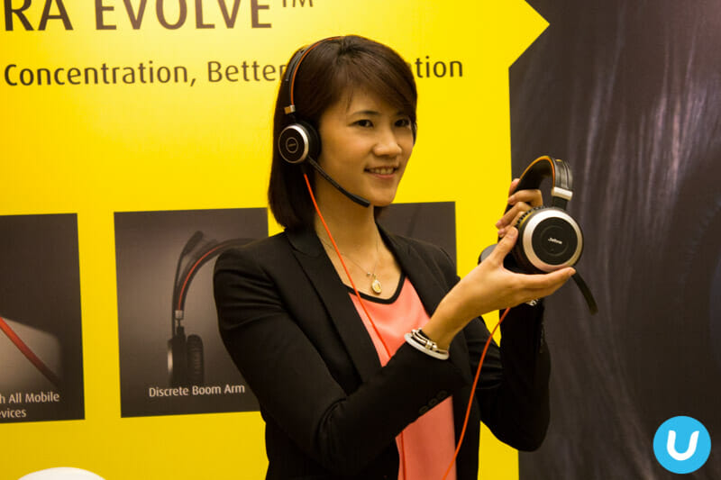 Jabra's Gladys Kong with the new Evolve 80