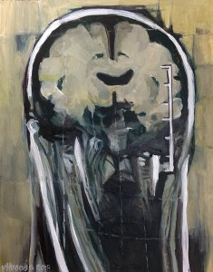 The artwork is a portrait of an anonymous, sick, genderless character that reveals its tragic and temporary carnal material.  The initial source of this work is an MRI, whose acronym, as we may know, stands for Magnetic Resonance Imaging.