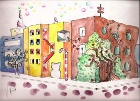Ciudad imaginativa y alegre pospo