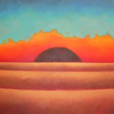 """Love at Sunset  48x114"""" Acrylic on canvas, 2009  SOLD"""