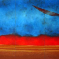 "Entering Zen  *Triptic  24x72"" Acrylic on canvas, 2008  SOLD"