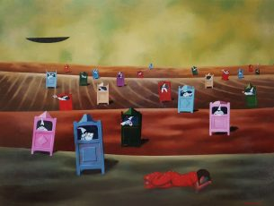 "Homage to Sergio Agostini ""La lunga notte estiva"" 30x40"" Acrylic on canvas, 2001 SOLD"