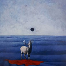 """Caribou Night 18x14"""" Acrylic on canvas, 2004  SOLD"""