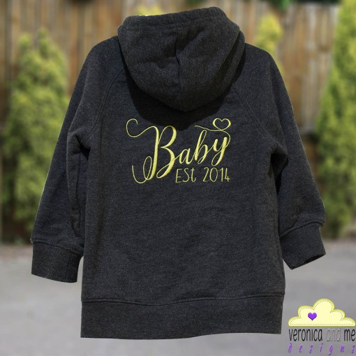 baby est 2014 embroidery hoodie sweatshirt yellow script font heart unique kids children gift