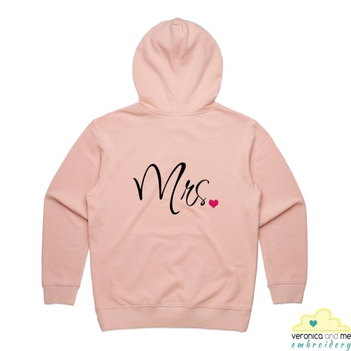 pink hoodie mrs embroidery