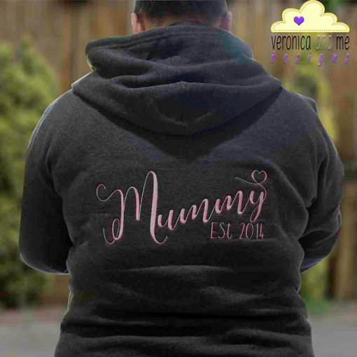 mummy est 2014 embroidery hoodie sweatshirt pink script font heart unique gift