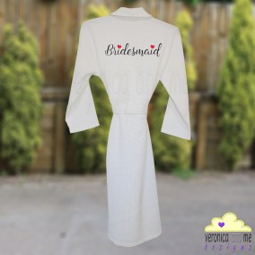 embroidered bridesmaid waffle rob red heart script font