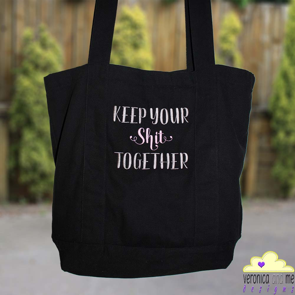 tote bag custom embroidery personalised customised embroidered black silver pink corporate gift