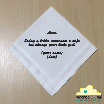 Mum Saying on White Plain Hankie