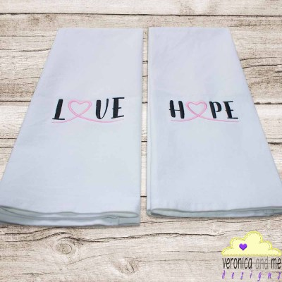 pink ribbon, embroidery, tea towels, love, hope, cancer awareness