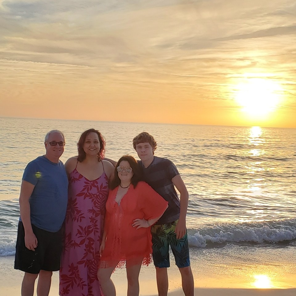 Veronica Bessey and family at the beach