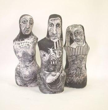 something outwith - ceramic sculpture underglaze scraffito
