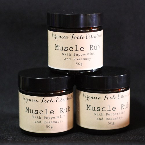 Veronica Foale Essentials Muscle Rub. Oil based, in an amber glass jar.