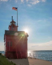 Big Red lighthouse with large starburst