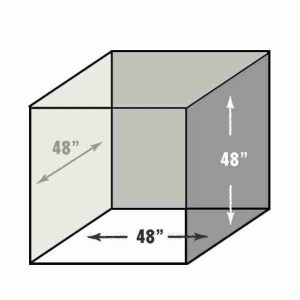 The dimensions of the box used in Box Photography.
