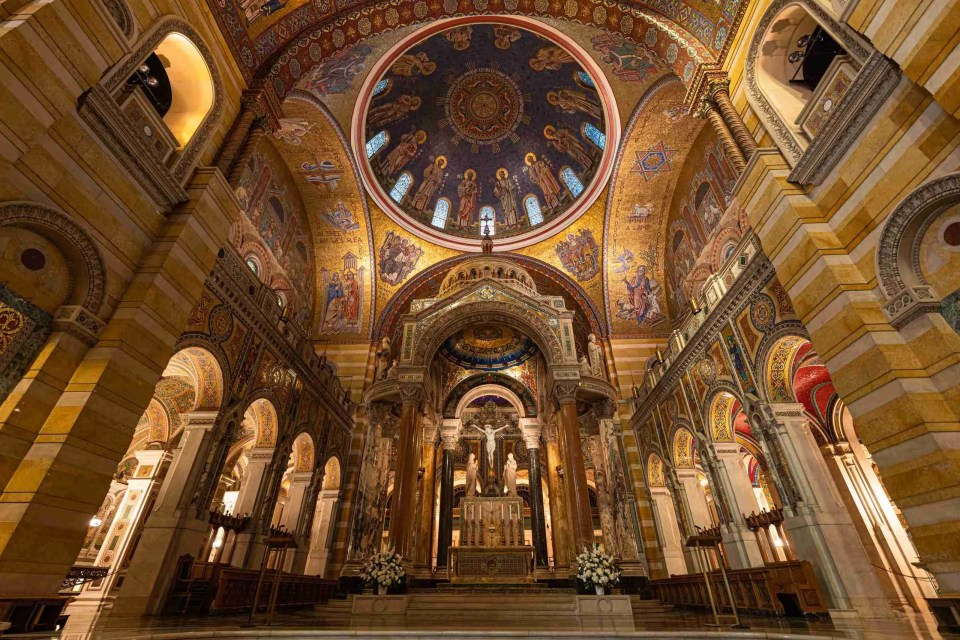 Wide view of Cathedral Basilica for habit post