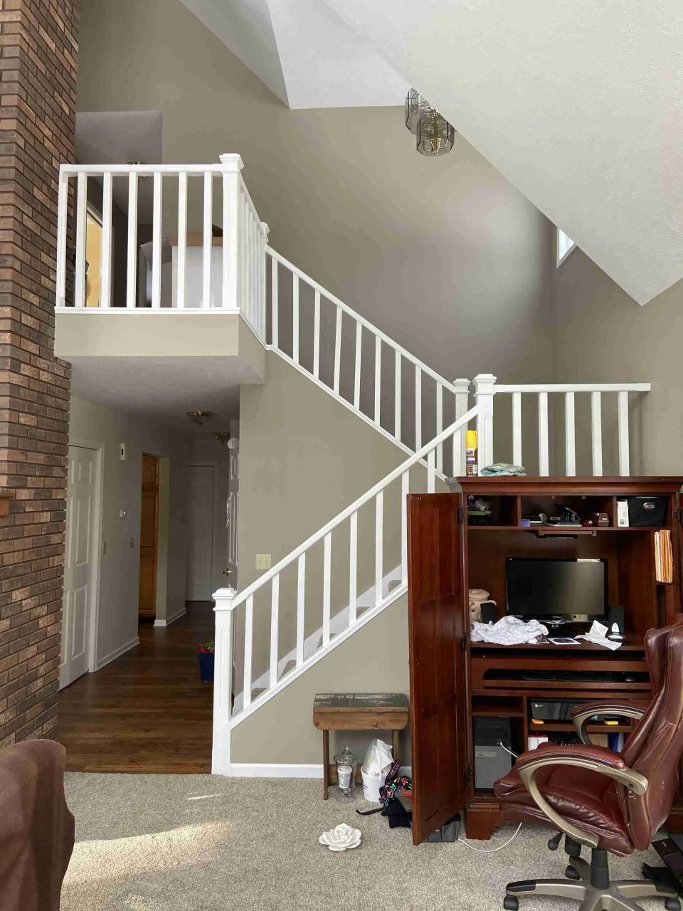 View of the stairs in the author's new home